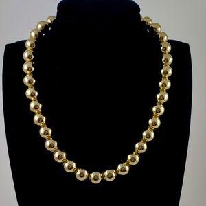 Vintage Monet Necklace Round Gold Tone Beads